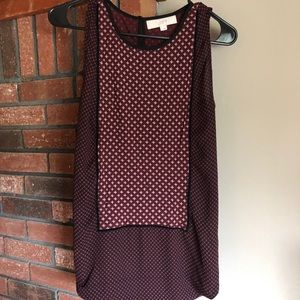 Maroon and black mixed media sleeveless blouse